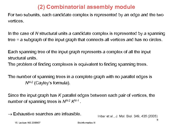 (2) Combinatorial assembly module For two subunits, each candidate complex is represented by an