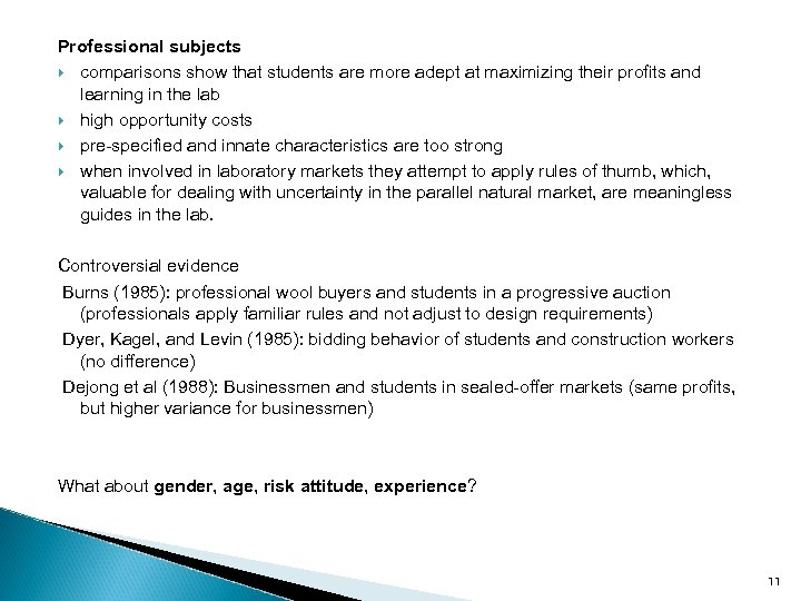 Professional subjects comparisons show that students are more adept at maximizing their profits and