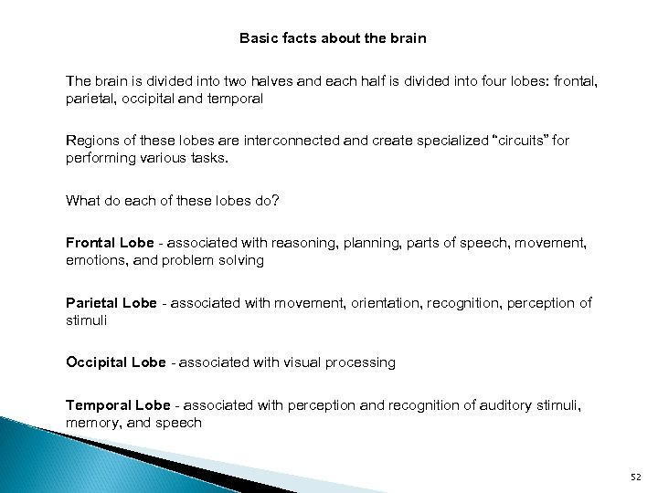 Basic facts about the brain The brain is divided into two halves and each