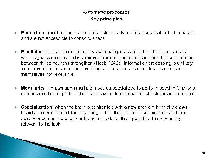 Automatic processes Key principles Parallelism much of the brain's processing involves processes that unfold