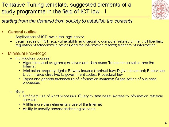 Tentative Tuning template: suggested elements of a study programme in the field of ICT