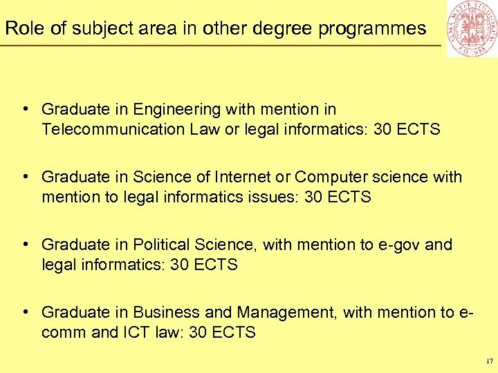 Role of subject area in other degree programmes • Graduate in Engineering with mention