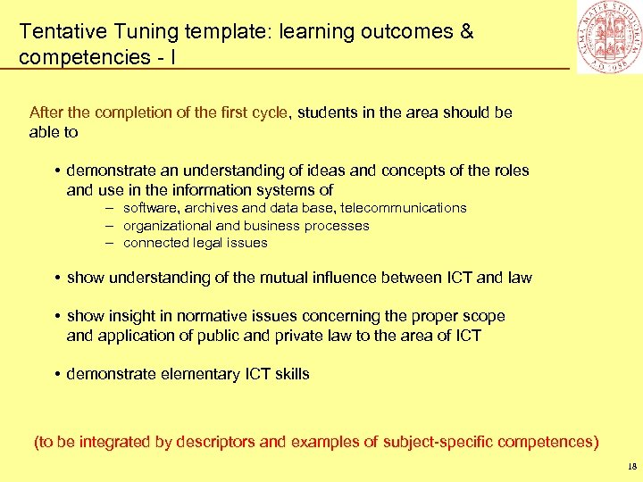 Tentative Tuning template: learning outcomes & competencies - I After the completion of the