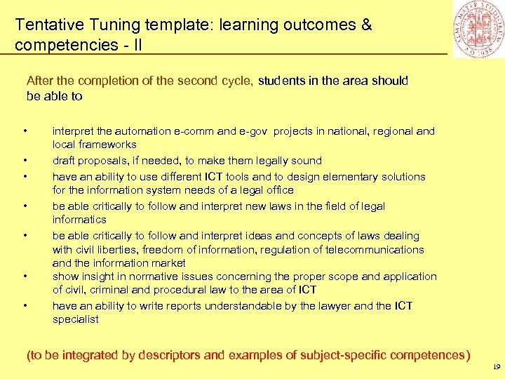 Tentative Tuning template: learning outcomes & competencies - II After the completion of the