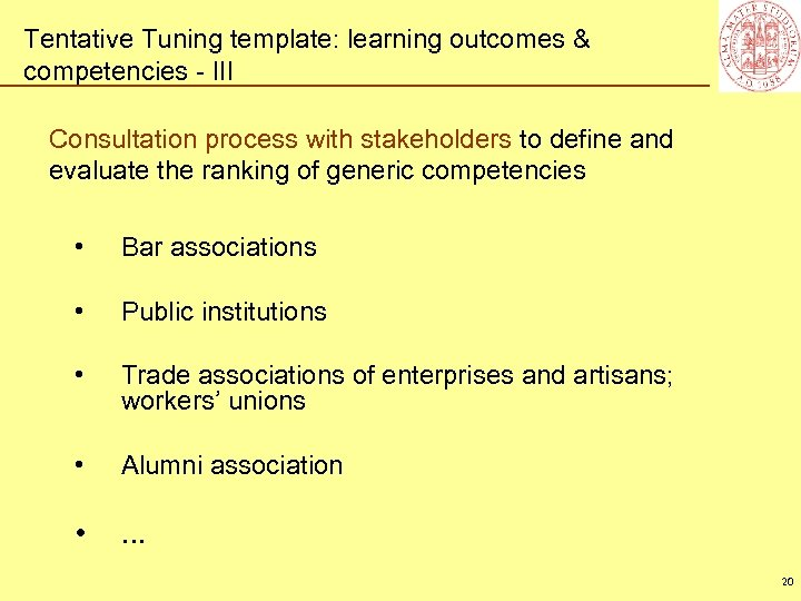 Tentative Tuning template: learning outcomes & competencies - III Consultation process with stakeholders to