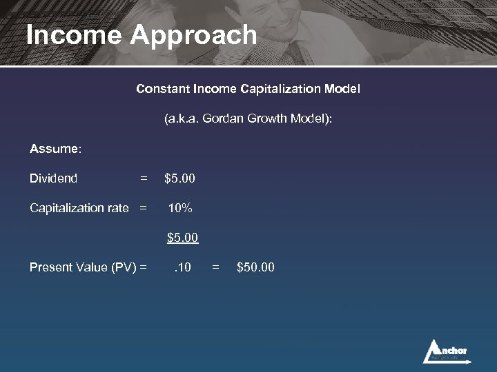 Income Approach Constant Income Capitalization Model (a. k. a. Gordan Growth Model): Assume: Dividend