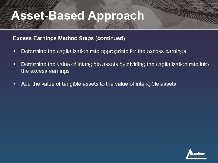 Asset-Based Approach Excess Earnings Method Steps (continued): § Determine the capitalization rate appropriate for