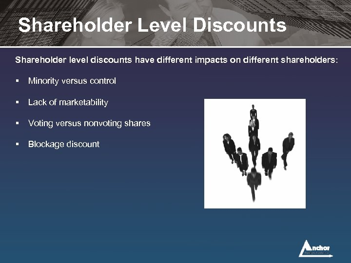 Shareholder Level Discounts Shareholder level discounts have different impacts on different shareholders: § Minority