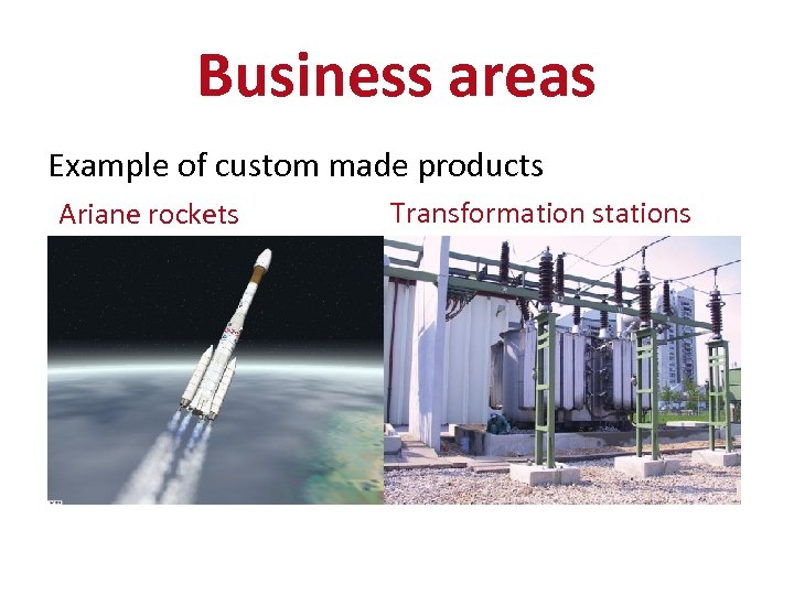 Business areas Example of custom made products Ariane rockets Transformation stations