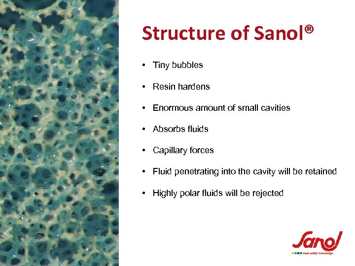 Structure of Sanol® • Tiny bubbles • Resin hardens • Enormous amount of small