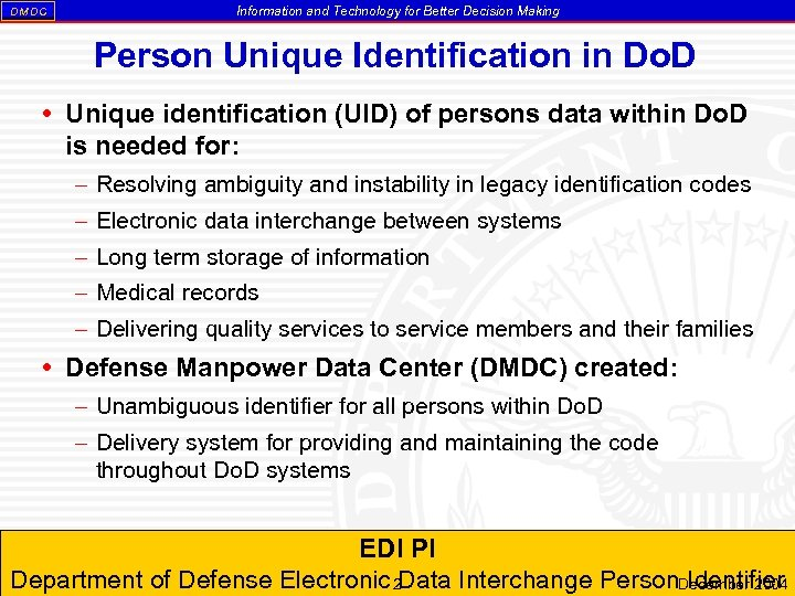 DM DC Information and Technology for Better Decision Making Person Unique Identification in Do.