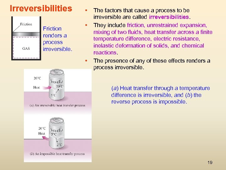 Irreversibilities Friction renders a process irreversible. • • • The factors that cause a