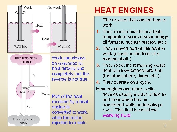 HEAT ENGINES 1. 2. Work can always be converted to heat directly and completely,