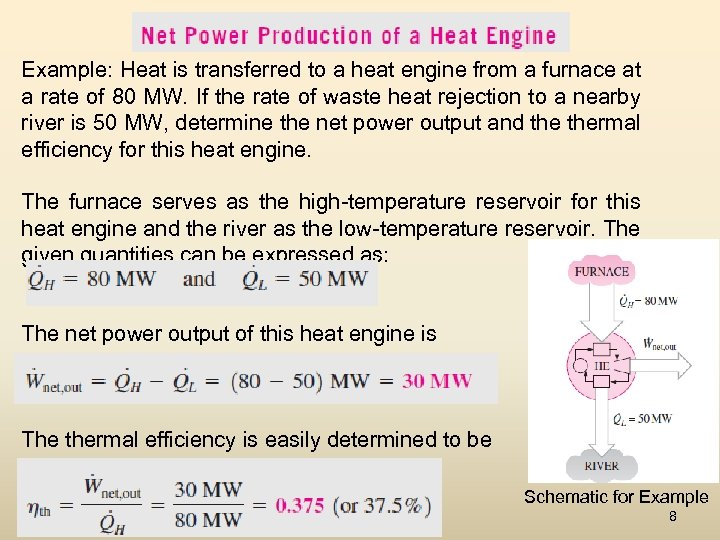 Example: Heat is transferred to a heat engine from a furnace at a rate