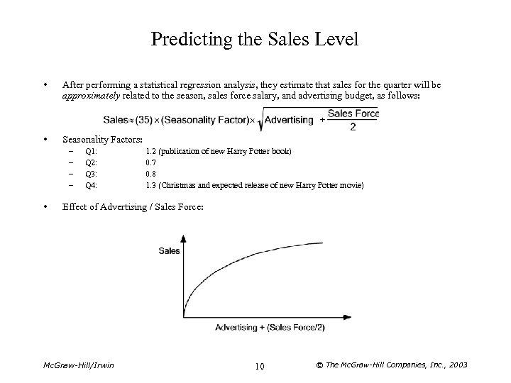 Predicting the Sales Level • After performing a statistical regression analysis, they estimate that