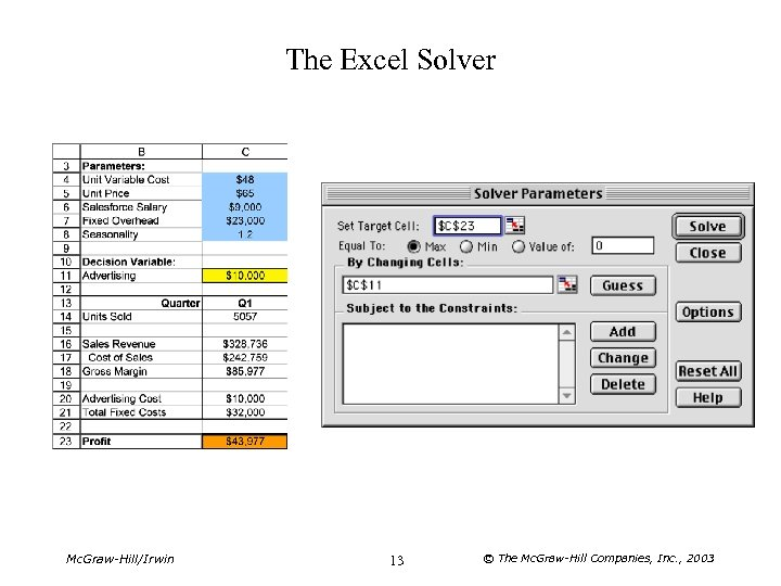 The Excel Solver Mc. Graw-Hill/Irwin 13 © The Mc. Graw-Hill Companies, Inc. , 2003