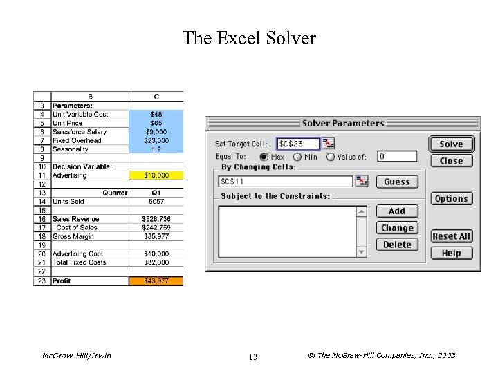 The Excel Solver Mc. Graw-Hill/Irwin 13 © The Mc. Graw-Hill Companies, Inc. , 2003