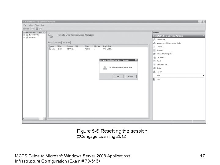 Figure 5 -6 Resetting the session ©Cengage Learning 2012 MCTS Guide to Microsoft Windows