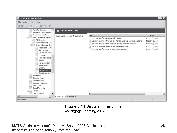 Figure 5 -11 Session Time Limits ©Cengage Learning 2012 MCTS Guide to Microsoft Windows