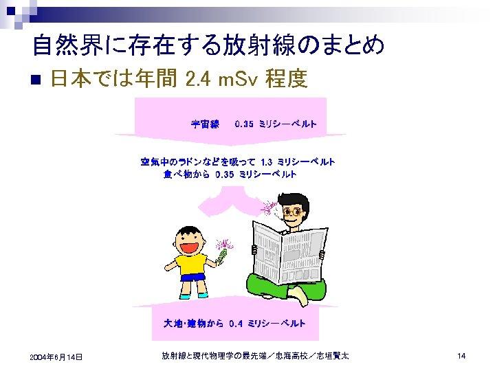 自然界に存在する放射線のまとめ n 日本では年間 2. 4 m. Sv 程度 2004年 6月14日 放射線と現代物理学の最先端/忠海高校/志垣賢太 14