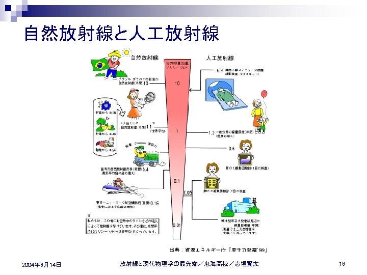 自然放射線と人 放射線 2004年 6月14日 放射線と現代物理学の最先端/忠海高校/志垣賢太 16