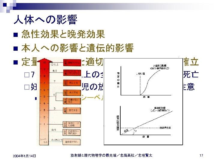人体への影響 急性効果と晩発効果 n 本人への影響と遺伝的影響 n 定量的な理解と適切な防護対策がほぼ確立 n ¨ 7 シーベルト以上の全身被爆でほぼ 100 % 死亡 ¨