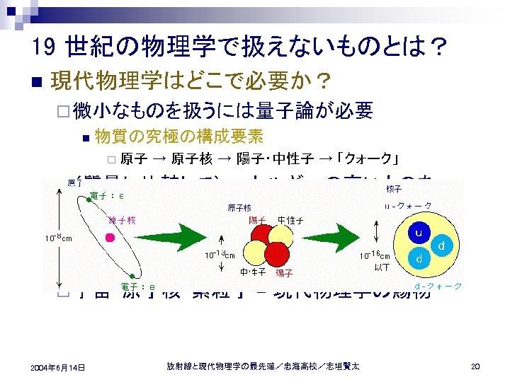 19 世紀の物理学で扱えないものとは? n 現代物理学はどこで必要か? ¨ 微小なものを扱うには量子論が必要 n 物質の究極の構成要素 ¨ 原子 → 原子核 → 陽子・中性子