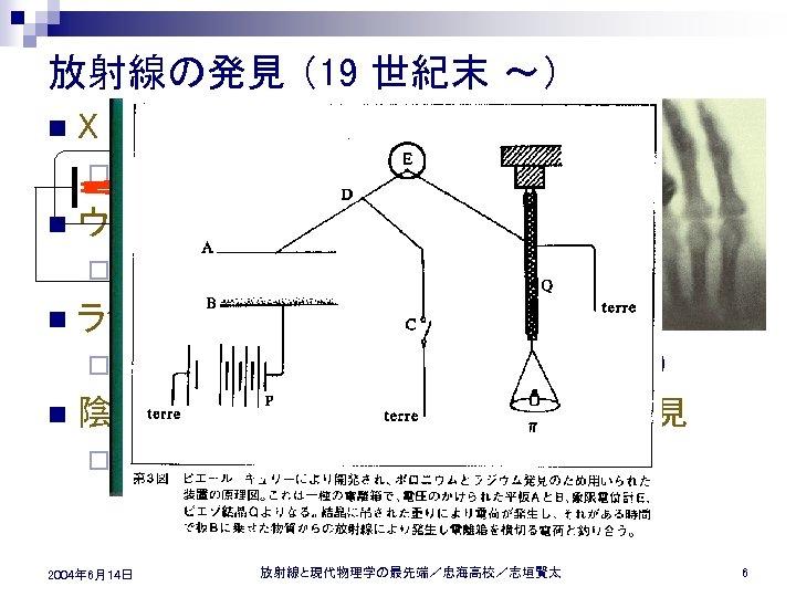 放射線の発見 (19 世紀末 ~) n X 線の発見 ¨ 1895年 n ウランの放射性 (α線、γ線) の発見 ¨