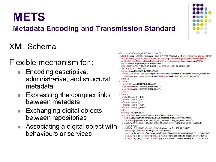METS Metadata Encoding and Transmission Standard XML Schema Flexible mechanism for : l l