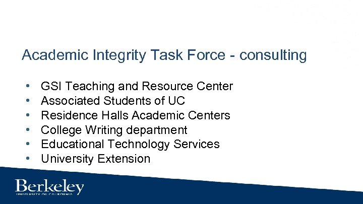 Academic Integrity Task Force - consulting • • • GSI Teaching and Resource Center