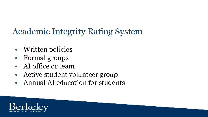 Academic Integrity Rating System • • • Written policies Formal groups AI office or