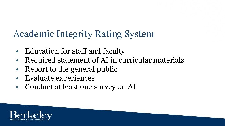 Academic Integrity Rating System • • • Education for staff and faculty Required statement