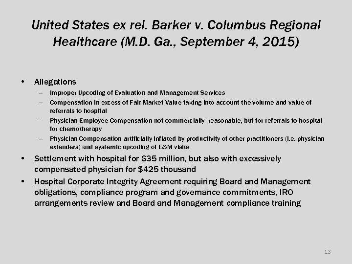 United States ex rel. Barker v. Columbus Regional Healthcare (M. D. Ga. , September