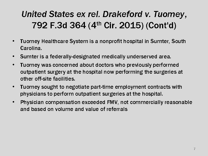 United States ex rel. Drakeford v. Tuomey, 792 F. 3 d 364 (4 th