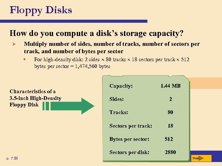 Floppy Disks How do you compute a disk's storage capacity? Ø Multiply number of