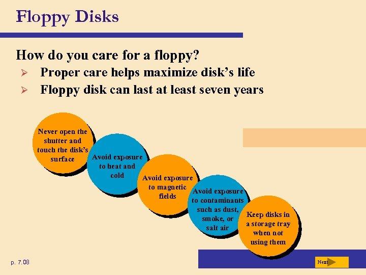 Floppy Disks How do you care for a floppy? Ø Ø Proper care helps