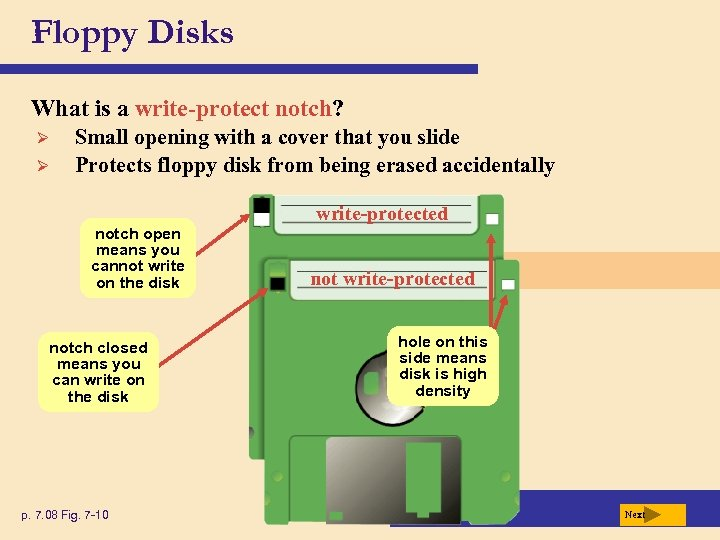 Floppy Disks What is a write-protect notch? Ø Ø Small opening with a cover