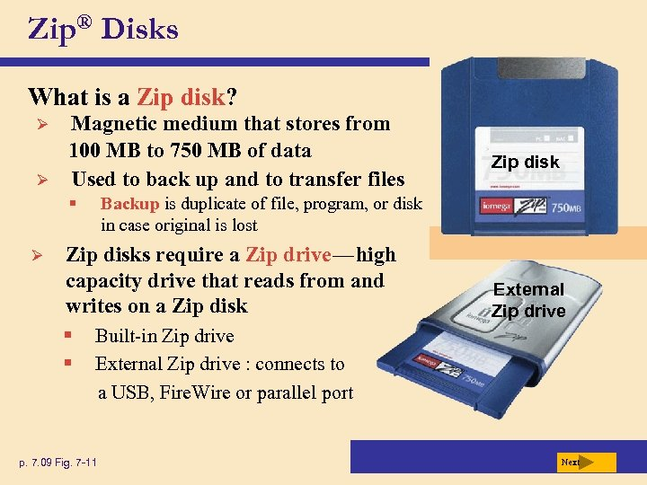 Zip® Disks What is a Zip disk? Ø Ø Magnetic medium that stores from