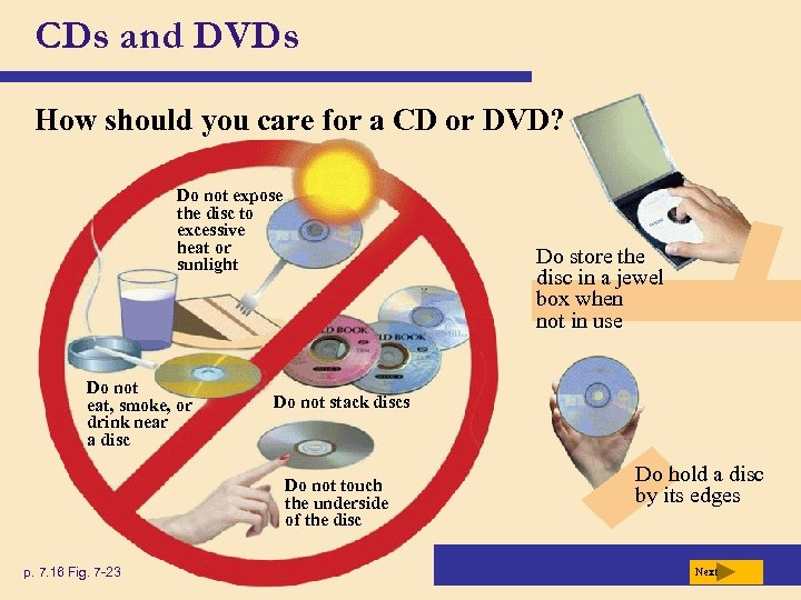 CDs and DVDs How should you care for a CD or DVD? Do not