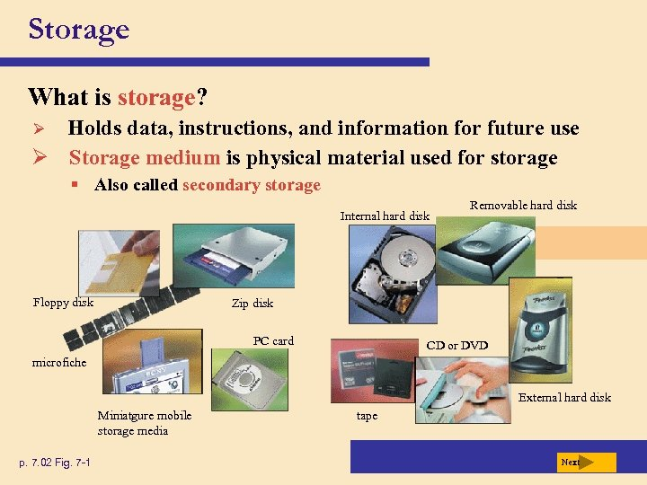 Storage What is storage? Holds data, instructions, and information for future use Ø Storage