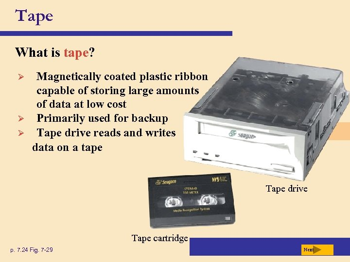 Tape What is tape? Ø Ø Ø Magnetically coated plastic ribbon capable of storing