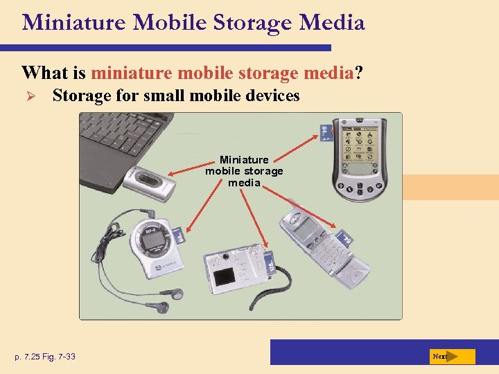 Miniature Mobile Storage Media What is miniature mobile storage media? Ø Storage for small