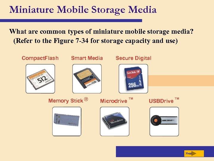 Miniature Mobile Storage Media What are common types of miniature mobile storage media? (Refer