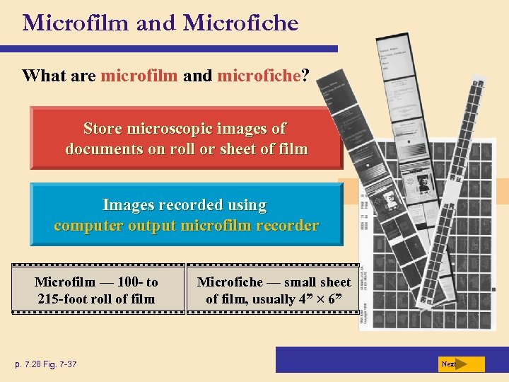 Microfilm and Microfiche What are microfilm and microfiche? Store microscopic images of documents on