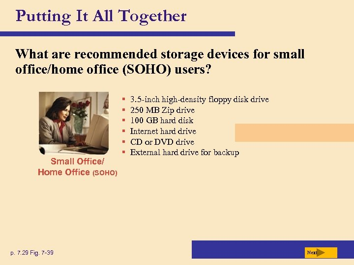 Putting It All Together What are recommended storage devices for small office/home office (SOHO)