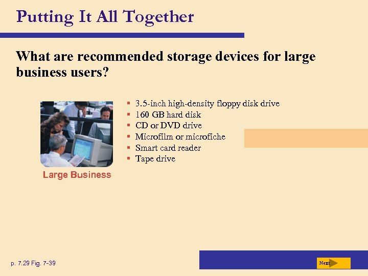 Putting It All Together What are recommended storage devices for large business users? §