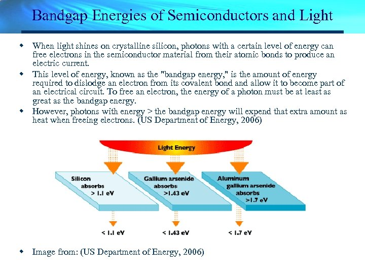 Bandgap Energies of Semiconductors and Light w When light shines on crystalline silicon, photons