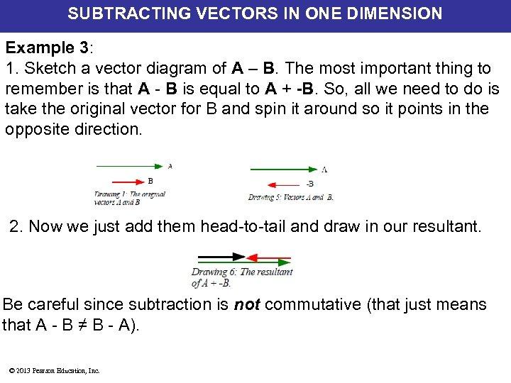 SUBTRACTING VECTORS IN ONE DIMENSION Example 3: 1. Sketch a vector diagram of A