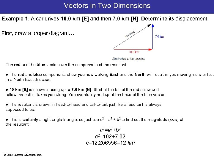 Vectors in Two Dimensions Example 1: A car drives 10. 0 km [E] and