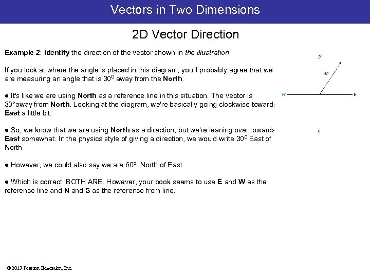 Vectors in Two Dimensions 2 D Vector Direction Example 2: Identify the direction of